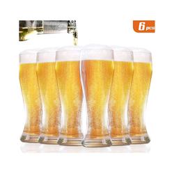 Homewit Bierglas 0,45L geeicht Hefeweizen Weizenglas Bierkrug Glas, BleifreiesGlas, 6 Tassen