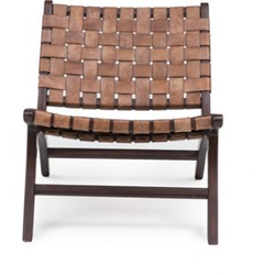 Design Lounge Sessel Teak Holz Leder Stuhl Clubsessel Relaxsessel Unikat braun