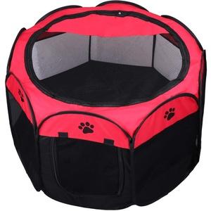 KEESIN Faltbares Haustier Zelt 8-Panel Mesh Haus WelpenLaufstall Hundehütte für Hunde Katze Kaninchen (73 * 73 * 43cm, Rot)