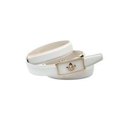 Anthoni Crown Ledergürtel Automatik Gürtel in weiß mit Lilie 80