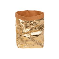 ONVAYA Aufbewahrungskorb Aufbewahrungskorb Gold, Krempelbox, Dekobox, Geschenkbox, Lederoptik, vegan, waschbar, Brotkorb, Badaufbewahrung goldfarben