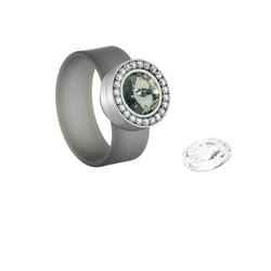 Heideman Fingerring Colori Black Diamond (1-tlg), mit Swarovski Kristall Austauschbar 48 (15.3)