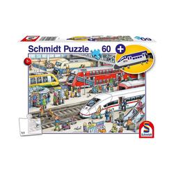 Schmidt Spiele Puzzle Am Bahnhof, 60 Teile, mit add on (Kofferanhänger, Puzzleteile