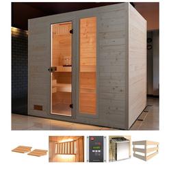 weka Sauna Lars Trend 1, BxTxH: 189 x 139 x 203,5 cm, 38 mm, 7,5 kW Ofen mit ext. Steuerung