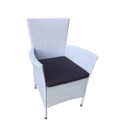 Garten Sessel in Weiß Kunstrattan Polsterauflagen in Grau (2er Set)