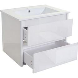 Waschbecken + Unterschrank MCW-B19, Waschbecken Waschtisch Badezimmer, hochglanz 50x60cm ~ weiß