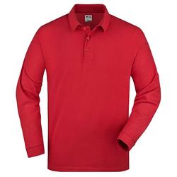 Herren langarm Poloshirt | James & Nicholson rot XXL