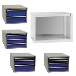 ADB Schubladenbox Schubladenschrank Schubladencontainer mit 2-4 Schubladen 300mm, Anzahl Schubladen: 2 Schubladen