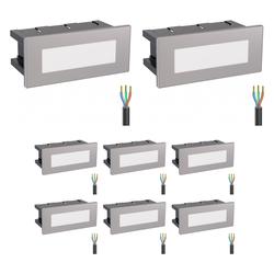 LED Treppen-Licht Treppen-Leuchte, eckig, 12,3x5,3cm, 230V, weiß, 8 Stk.