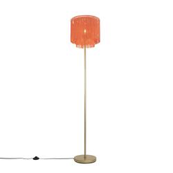 Orientalische Stehlampe goldrosa Schirm mit Fransen - Franxa