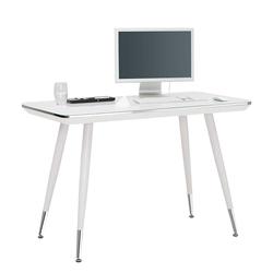 Büroschreibtisch mit Weißglasplatte 120 cm breit