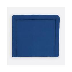 KraftKids Wickelauflage Musselin blau, extra Weich (500 g/qm), mit antiallergenem Vlies gefüllt 60 cm x 70 cm