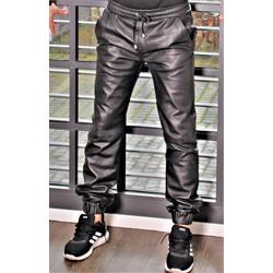 Lederhose Jogginghose ECHT-LEDER in schwarz und grau