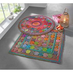 Teppich von Hand gewebt bunt ca. 120/120 cm, quadratisch