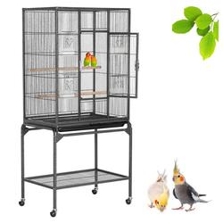 Yaheetech Vogelkäfig, Vogelvoliere Voliere Vogelhaus mit Rollen für Nymphensittiche, Papageien