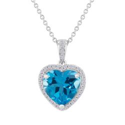 Goldkette im Halo-Stil mit Herz-Anhänger mit Topas und Diamanten Eliya