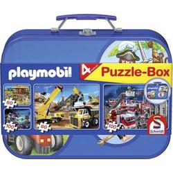 Schmidt Spiele Puzzle Playmobil im Metallkoffer 2 x 60 Teile, 2 x 100 Teile 55599