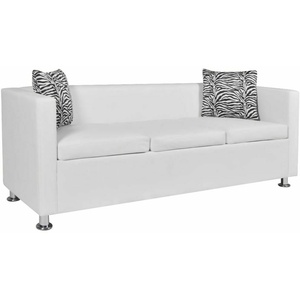 vidaXL 3-Sitzer Sofa Couch Loungesofa Relaxsofa Relaxcouch Kunstleder Weiß