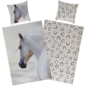 Aminata Kids Bettwäsche 135x200 Pferde Mädchen Baumwolle Kinder zart-rosa, weiß - Pferdebettwäsche mit Reißverschluss Kinderbettwäsche mit Schimmel - Kinder-Bettwäsche-Set mit Pferd, Pferde-Motiv