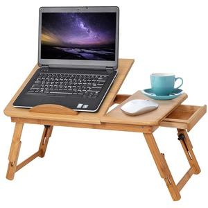 Ejoyous Laptoptisch als Tabletttisch fürs Bett oder Sofa aus Holz, Höhenverstellbarer Laptoptisch mit Schublade, Betttisch für Lesen oder Frühstücks und Zeichentisch, Tablet-Halterung faltbar