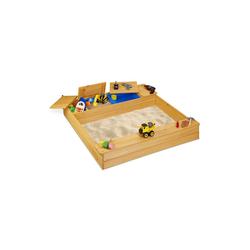 relaxdays Sandkasten Sandkasten mit Matschfach