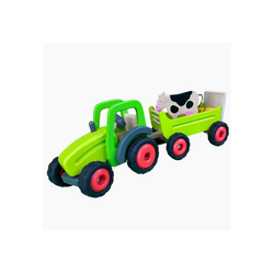 goki Spielzeug-Traktor Traktor mit Kuh Anhänger, aus Holz