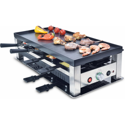 SOLIS OF SWITZERLAND Raclette Typ 791, 8 Raclettepfännchen, 1400 W, 5 in 1: Raclette, Tischgrill, Crépes, Mini Wok, Pizza