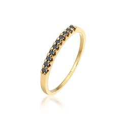 Elli Diamantring Geo Schwarzer Diamant (0.20 ct) 375 Gelbgold 56 mm
