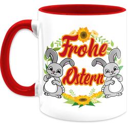 Shirtracer Tasse Frohe Ostern Hasen - Tasse mit Spruch - Tasse zweifarbig, Keramik