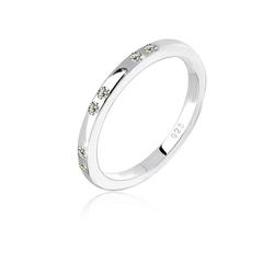 Elli Fingerring Kristalle 925 Sterling Silber, Kristall Ring grau 52
