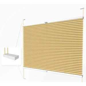 Home-Vision® Premium Plissee nach Maß, zum Anschrauben in der Glasleiste Innenrahmen Blickdicht Jalousie mit Halterungen zum Bohren, Verschiedene Profilfarben (Gelb, B151-160cm x H101-150cm)