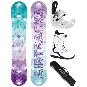 Airtracks Snowboard Set - Board Akasha Lady 147 - Softbindung Master - Softboots Savage W 42 - SB Bag