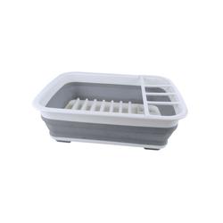 GIMEX Geschirrständer Campinggeschirr Abtropfgestell Geschirrablage grau - weiß 38 x 29 cm faltbar, spülmaschinengeeignet