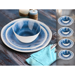 APS Geschirr-Set (12-tlg), Melamin, Camping-Geschirr für 4 Personen, Picknickgeschirr, maritim, Bootsgeschirr, Essgeschirr für Wohnmobil blau