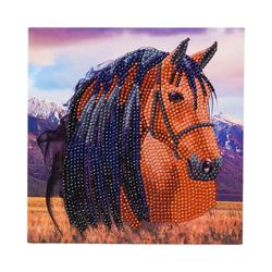 CRAFT Buddy Kreativset Crystal Art Pferd, 18 x 18 cm Kristallkunst-Karte
