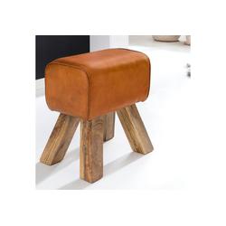 FINEBUY Sitzhocker SuVa6434_1, Design Turnbock Sitzhocker 40 x 30 x 47 cm Turnhocker Hocker Beistellhocker Fußhocker braun
