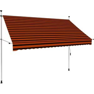 UnfadeMemory Einziehbare Markise Handbetrieben Außenmarkise Terrassenmarkise Manuell Balkonmarkise Sonnenschutz Markise Außenbereich (250 cm Orange/Braun)