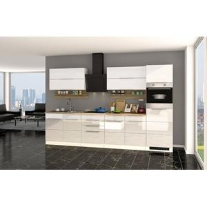 Einbauküche HAMBURG Küchenzeile mit Elektrogeräten Küche 320 cm Hochglanz Weiß