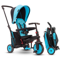 smarTrike STR3 Folding Toddler Tricycle with Stroller Certification 6-in-1 Multi-Stage Trike - Blue- 1-3 Years