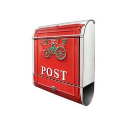 banjado Briefkasten Stahl Postkasten Nostalgie, 39x47x14cm silberfarben
