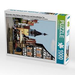 Winnenden: Altes Rathaus, Marktbrunnen und Schwaikheimer Tor Lege-Größe 48 x 64 cm Foto-Puzzle Bild von Klaus-Peter Huschka Puzzle