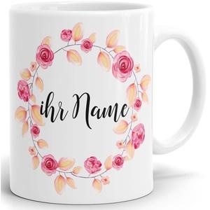 Drucksaal Namenstasse-Tasse-Becher-Kaffeetasse-mit Name-mit Namen individuell und persönlich Motiv Rosen