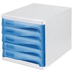 helit Schubladenbox   blau DIN A4 mit 5 Schubladen