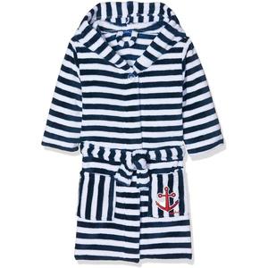 Playshoes Kinder Fleece-Bademantel Ringel Maritim Accappatoio, Blu (Marine/Weiß 171), 134/140 Bambino