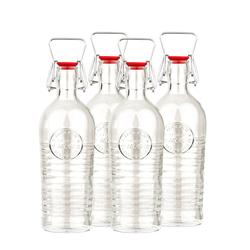 Bormioli Rocco Trinkflasche Glas Bügelflaschen 4x 1200ml