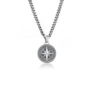 Halskette Herren Panzerkette Kompass Cool Massiv 925 Silber Kuzzoi Schwarz - 001