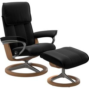 Stressless® Relaxsessel Admiral (Set, Relaxsessel mit Hocker), mit Hocker, mit Signature Base, Größe M & L, Gestell Eiche schwarz 93 cm x 113 cm x 79 cm