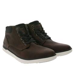 PETROLIO PETROLIO Sneaker-Boots bequeme Herren Winter-Stiefel aus Lederimitat Schnür-Boots Dunkelbraun Schnürstiefel 42