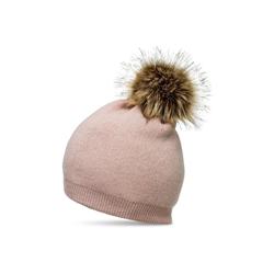 Caspar Bommelmütze MU187 elegante Damen Feinstrick Mütze Bommelmütze mit Fellbommel rosa