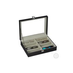 relaxdays Aufbewahrungsbox Brillenbox für 8 Brillen schwarz